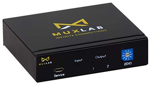 MuxLab 1x2 HDMI Splitter 1 in 2 Out | Supports 4K@60HZ HDR, HDMI 2.0, HDCP 2.2 | for PS4 PS3 Blu-Ray Player HDTV (1 Source to 2 Displays, for Dual Duplicate Monitors)