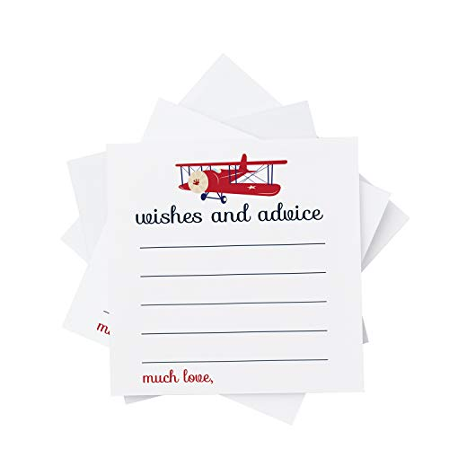 Airplane Advice Cards (25 Pack) Boys Baby Shower Games - Well Wishes - Kids Birthday Time Capsule Ideas