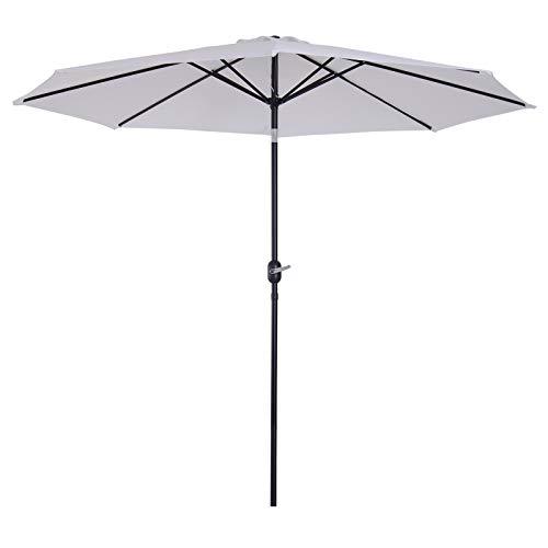 Outsunny Parasol Grande de Jardín Sombrilla para Exterior Desmontable Ángulo Regulable y Manivela de Apertura Fácil Φ300x245cm Blanco