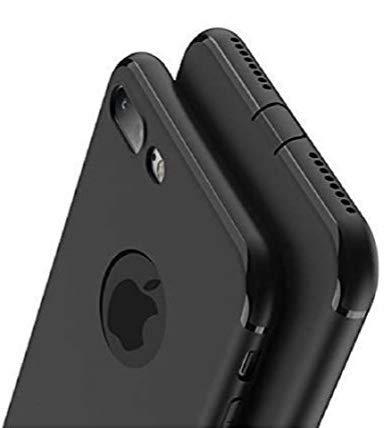 PfX Schwarz Matte Hülle kompatibel für iPhone 8 Plus, 5.5 Zoll, mit integriertem Staubschutz Ultra-Slim (1. Schwarz mit Loch)