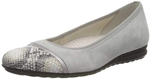 Gabor Shoes Mädchen Comfort Sport Geschlossene Ballerinas, Grau (Light Grey/Silber 40), 35 EU