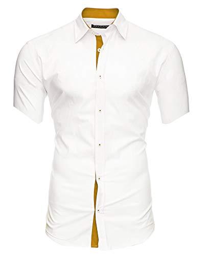 Kayhan Herren Kurzarm Hemd Florida White/Gold XXL