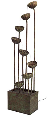 """Melrose 64"""" Rustic Bronze Colored Indoor/Outdoor Cascading Flower Water Fountain"""
