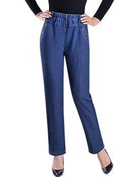 IDEALSANXUN Women's Fleece Lined Jeans Retro Elastic Waist Denim Pants  Medium Mid Blue