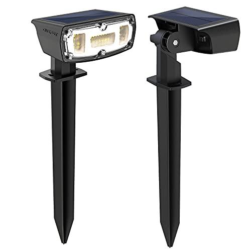 OUSFOT Potentes lámparas solares para jardín de suelo IP67 Luces solares impermeables para jardín al aire libre 2 niveles de brillo 30 LED para jardín patio árboles entrada