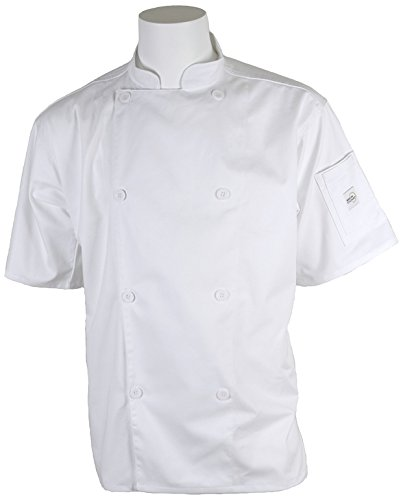Mercer Culinary M61012WHM Genesis Men's Short Sleeve Chef Jacket with Traditional Buttons, Medium, White