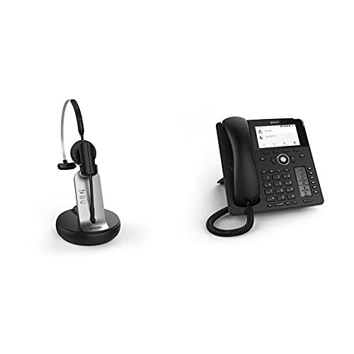 Snom A170 DECT-Headset (HD-Audioqualität, Rauschunterdrückung, 3 Tragevarianten, DECT mit Reichweite bis zu 50 m) und D785 IP Handy, SIP Tischtelefon Farbe + SmartScreen, 12 SIP-Identitäten, Schwarz