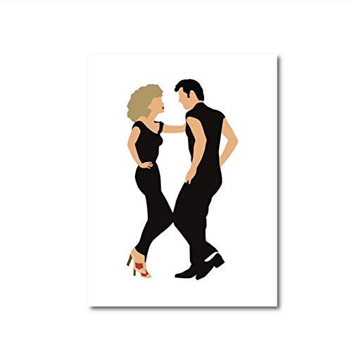 Grease Olivia Newton John y John Travolta Impresiones en Lienzo LA Película Grease Sing A Long Vintage Poster Painting Home Wall Decor-16x24 Pulgadas Sin Marco