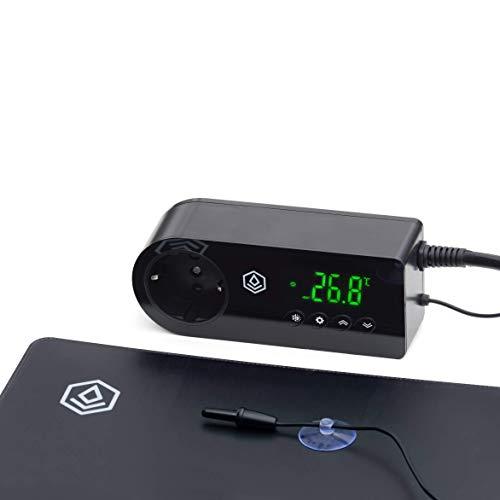 FYTO Temp Thermostat und Heizmatte (55x35cm) • Acryl Panel Wärmeregler und Ultra Flat Heizmatte • Ideal für die Temperaturregulierung von Terrarien/zur Pflanzenanzucht