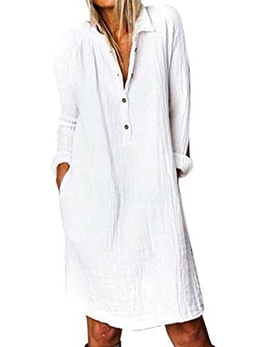 ORANDESIGNE Sommerkleid Leinen Kleider Damen Lang Blusen Casual Baumwoll und Leinen Langarm Kleid Halbarm Kleid mit Taschen Hemdkleid C Weiß 42