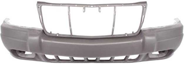 Front Bumper Cover Compatible with 1999-2003 Jeep Grand Cherokee Textured Laredo/Sport Models with Fog Light Holes From 8-1-01