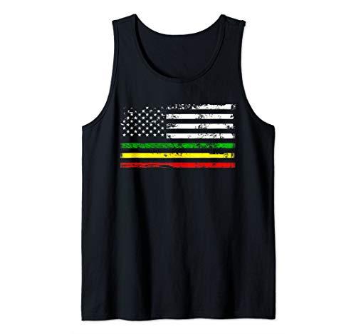 African American flag design. Gift for Africa Rasta Reggae Tank Top