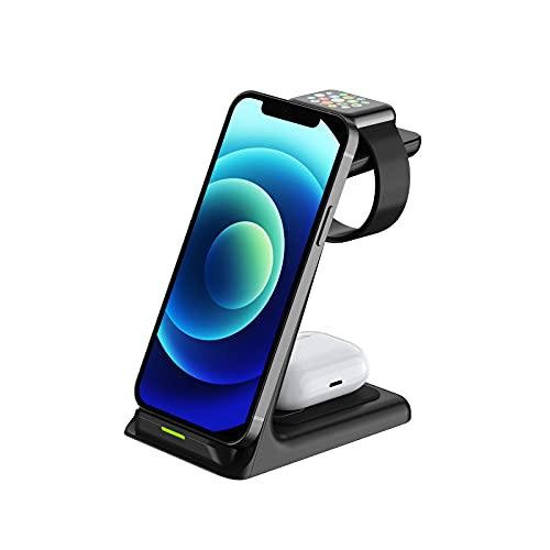 Cargador Inalámbrico, Estación De Carga Rápida 3 En 1, para Apple Watch SE 6 5 4 3 2, Airpods Pro, iPhone 12/11/11 Pro/X/XR/XS / 8 Plus, Teléfonos con Certificación Qi (con QC3.0 Adaptador),Blanco