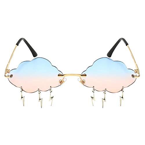 FITYLE Gafas de Sol Vintage sin Montura Moda Mujer Irregular Nubes relámpago Borla Gafas de Sol Boda cumpleaños Fiesta Gafas - Azul Rosa