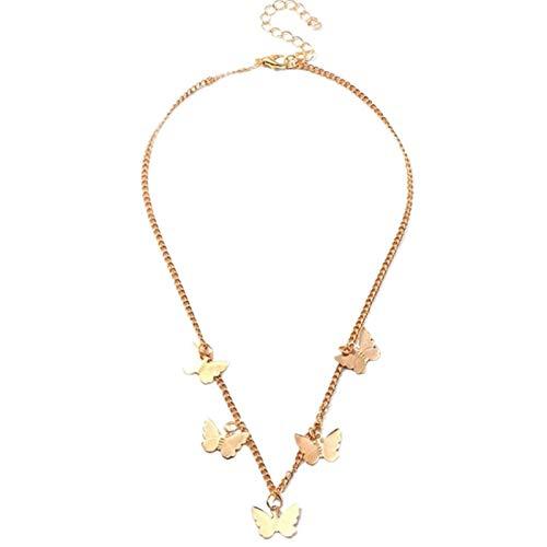 Collar Con Colgante De Mariposa De Temperamento, Joyería Femenina(Dorado)