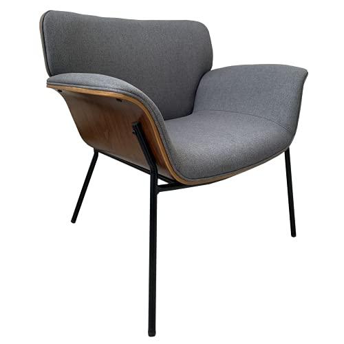HOME DECO FACTORY HD7164 Tela Asiento para sillón de salón, Gris Chino, Negro, Madera, 80x80x72cm