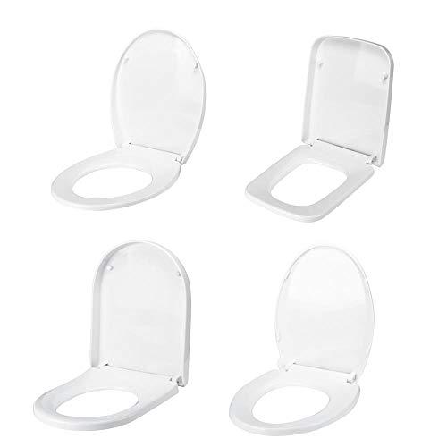 ZLEW PP Universal langsam schließender Toilettendeckeldeckel-Set Haushaltsverdickter Toilettensitz Austauschbarer antibakterieller quadratischer runder O/V-Toilettendeckel, U-Typ, Spanien