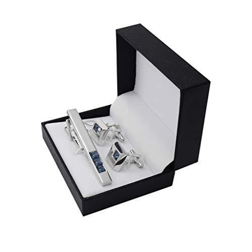 ZCX Silber Metall Imported Dunkelblau tschechische Kristallkrawattenklammer Manschettenknöpfe Set 2 Stück Krawattennadeln