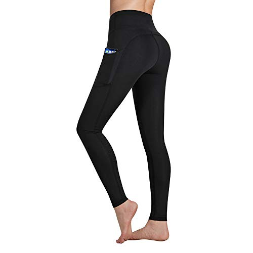 Occffy High Waist Yoga Pants for Women with Pockets Tummy Control Leggings Workout Running Tights DS166 (Black, XX-Large)