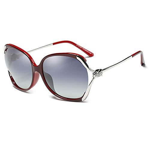Y&J Gafas De Sol De Mujer, Gafas De Sol Polarizadas, Montura Metálica Grande, Templo De Moda, Lente De Resina HD
