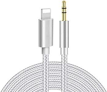 Cable Auxiliar para iPhone 11 Cable Auxiliar para Auto a Jack Adaptador de 3.5mm para iPhone 7Plus/8/X/XS/XR/11 a Radio de Coche/Adaptador de Altavoz/Auriculares Compatible con Todos los iOS Plata