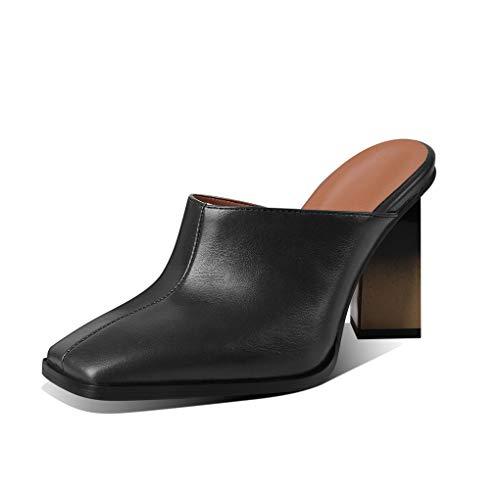 ANNIESHOE Mules Mujer Elegantes Comodas Sandalias Piel Vestir Tacon Ancho Alto Verano Negro 37EU