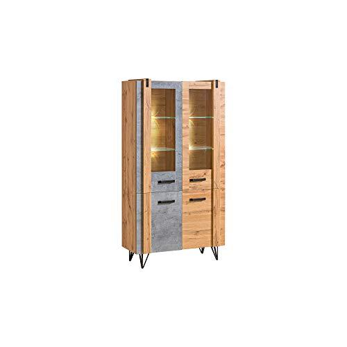 Furniture24 Vitrine Lofter LO3 Schrank 4 Türiger Schrank Wohnzimmerschrank Vitrinenschrank Loft Still