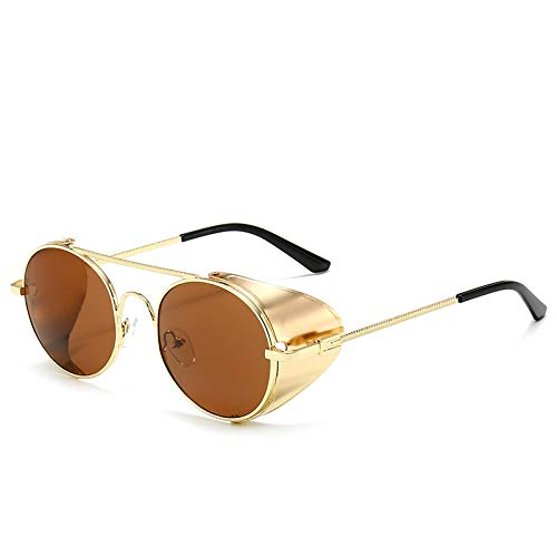 Gafas de Sol Sunglasses Gafas De Sol Estilo Steampunk De Lujo Vintage Cubierta Lateral De Metal Fresco Tallado Diseño De Marca Punk Gafas De Sol C4