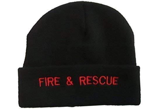 Feu et Rescue Noir Bonnet Chapeau Rouge Texte