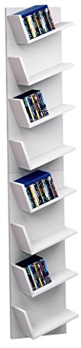 VCM Design wandrek hangrek boekenrek CD DVD kast plank wit