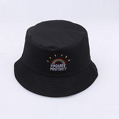 Sombrero Gorra Sombrero de Cubo Reversible Sombreros de Verano para el Sol para Mujeres Hombres Gorro-Rainbow Black