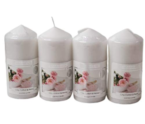 Wickford &Co Scented Candle in Pillar Shaped Pack of 4 Assorted Candles (Crisp Cotton & Peony)