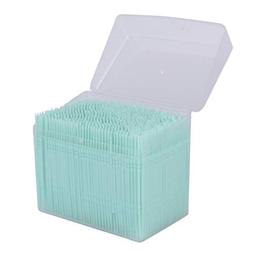 1100 Stücke 2-Wege Weiße Kunststoff Zahnstocher Oral Dental Picks Tooth Pick Interdental Brush Double-Ended Pinsel Zähne Stick with Portable Case
