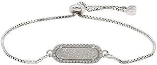 MAQ Jewelry Bracelet Pendant, Silver - Tone w/White Druzy Quartz Stone