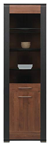 furniture24_eu Vitrine Vitrinenschrank Naomi (Nußbaum/Wenge, Ohne Beleuchtung)
