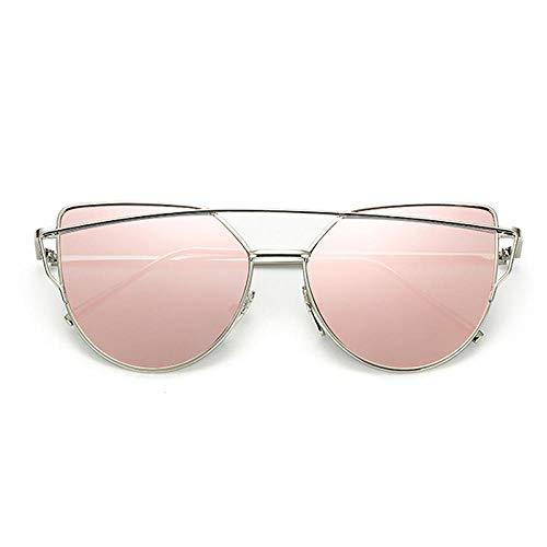 chuanglanja Gafas De Sol Mujer Elegantes Gafas De Sol De Ojo De Gato Para Mujer Gafas Reflectantes De Metal Vintage Para Mujer Espejo Retro-Color-F