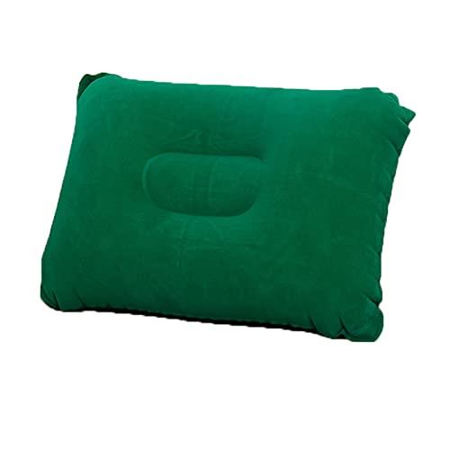 Almohada inflable del cuello de viaje (2pcs) Completa con 1 PCS con máscara de ojo para dormir y 1 unidad de bomba de mano portátil, almohada portátil inflable del cuello de viaje,Verde,24*38cm