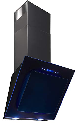 Exquisit Dunstabzugshaube KFD 607-2L | LED-Beleuchtung in 7 verschiedenen Farben | Kopffreihaube | Touch Control | Schwarz