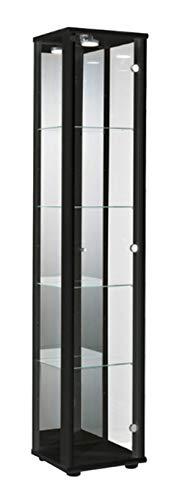 K-Möbel Glasvitrine in Schwarz (176x37x33 cm) mit 4 höhenverstellbaren Glasböden aus ESG, LED, Schloss und Spiegel; beleuchet; perfekt für Sammler;