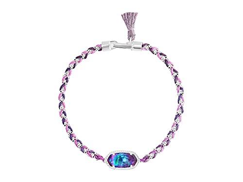 Kendra Scott Elaina Braided Friendship Bracelet Bright Silver/Lilac Abalone One...