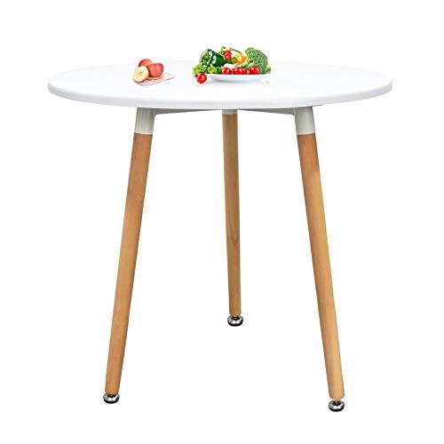 GNEGNIS Rund Esstisch Küchentisch Esszimmertisch mit Beinen Weiß, Durchmesser 60cm, Skandinavisch Design Rund Beistelltisch Couchtisch Weiß (60x53x70cm)