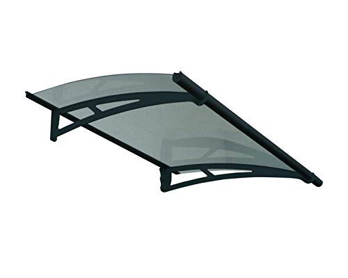 Palram Vordach, Pultvordach, Türüberdachung Aquila 1500 klar, grau inkl. Regenrinne, 151x92 cm