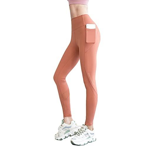 YUDIZWS Leggings de yoga para mujer con bolsillos elásticos de 4 direcciones, para correr, control de barriga, pantalones suaves elásticos (color naranja, tamaño: grande)