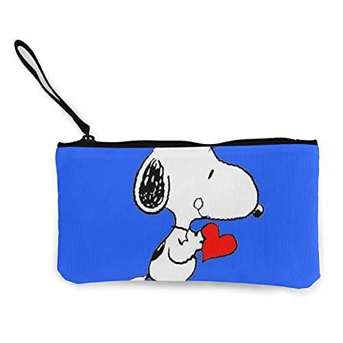 Snoopy Monederos de lona se pueden utilizar como estuche de viaje cosmético para lápices de ejercicios con cremallera para estudiantes hombres y mujeres