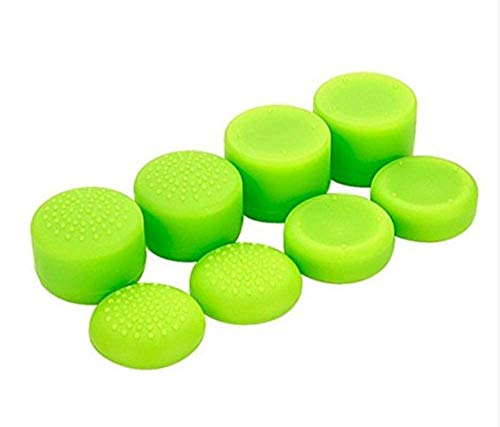Cleveland Morse 8 Pcs Silicone Rubber Raised Analog Joystick Thumbstick Thumb Grips Stick Cap Cover for PS4 PS3 Switch Pro Xbox one Xbox 360 Wii U PS2 Controller (Green)