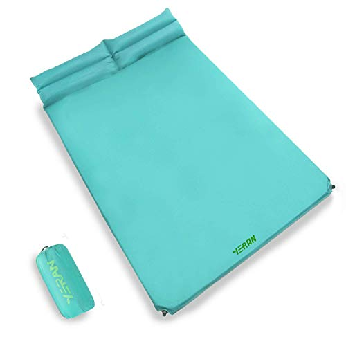 YERAN Double Self Inflating Camping Sleeping Pads, 1.2 Inch Thick Lightweight Inflatable Foam Camping Mattress with Pillow, Insulated Outdoor Camping Sleeping Mat for Backpacking Hiking Traveling