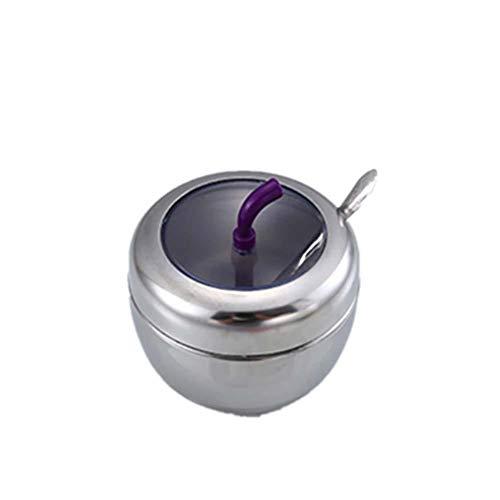 CAOLATOR Juego De Caja para condimentos Forma de Tambor Cuadrado Contenedor de Especias Conjunto Botes para Especias Saleros y pimenteros para la Cocina, el Comedor-Plata