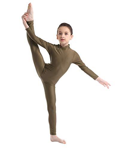 inlzdz Kinder Mädchen Lycra Langarm Tanzanzug Gymnastikanzug Ganzkörperanzug Catsuit Tanzbekleidung Kostüme, Kinder, braun, 7-8Years