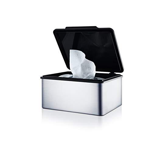 blomus -MENOTO- Feuchttücherbox aus mattiertem Edelstahl, mit praktischem Kunststoffeinsatz, exklusive Optik, modernes Badaccessoire, hochwertig (H / B / T: 7 x 14,9 x 13,2 cm, Edelstahl, 68821)