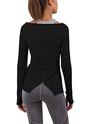 Mippo Women's Long Sleeve Workout Tops Active Sweatshirt Gymshark Shirts Pilates Wear Dance Tops Workout Outfits Fitness Exercise Clothes Boat Neck Tunic for Women Black XL
